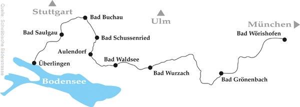 Der Streckenverlauf der Schwäbischen Bäderstrasse vom Bodensee bis nach Bad Wörishofen